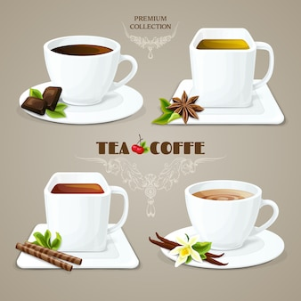 Thee en koffie kopjes instellen
