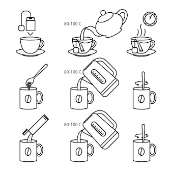 Thee en koffie maken instructie icon set