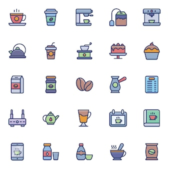 Thee en koffie pictogrammen pack
