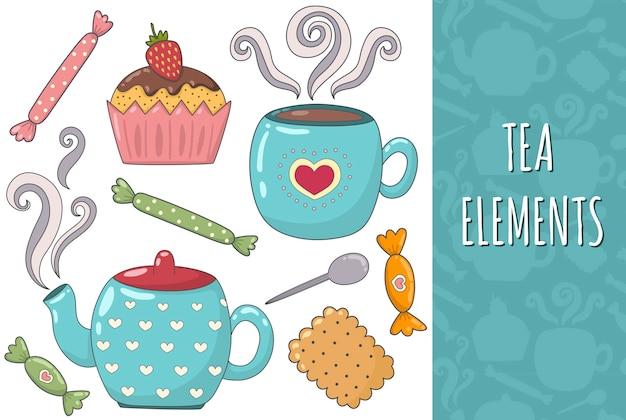 Thee geïsoleerde elementeninzameling. gezellige set. mok, theepot, koekje, muffin en snoep.