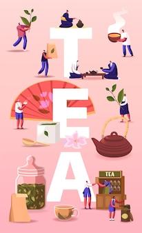 Thee illustratie. mensen die groeien, zorgen, verzamelen, produceren, verkopen en drinken thee