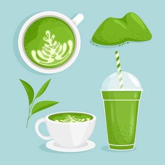 Thee matcha set. matcha koffie en thee, kopjes met matcha drankjes met melk, tekenfilm