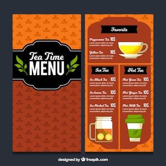 Thee menusjabloon met drank lijst