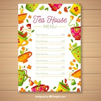 Thee menusjabloon met platte ontwerp
