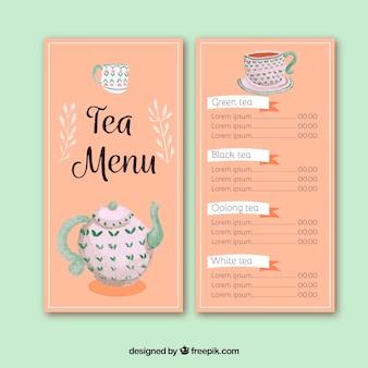 Thee menusjabloon naar tearoom