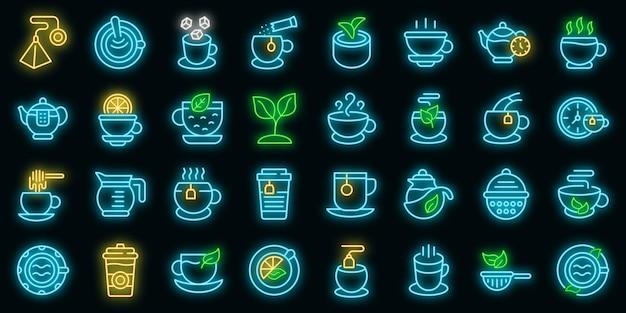 Thee pictogrammen instellen. overzicht set thee vector iconen neon kleur op zwart