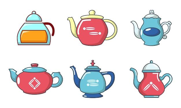 Thee pot pictogramserie. beeldverhaalreeks theepot vectorpictogrammen geplaatst geïsoleerd