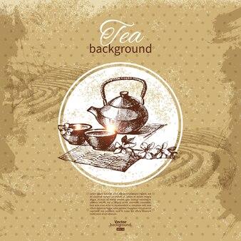 Thee vintage achtergrond. hand getrokken schets illustratie. menu ontwerp
