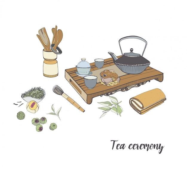 Theeceremonie met verschillende traditionele elementen. kleurrijke hand getekende illustratie.