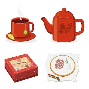 Theeceremonie mok, theepot en koekjesdoos, kleur geïsoleerde vectorillustratie.