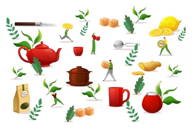 Theedrankobjecten vastgestelde elementen, illustratie. ochtend vloeistof maken in grote kop, groen blad, bruine suiker, citroen en gember