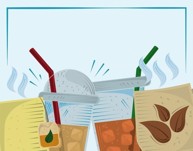 Theekopjes voor eenmalig gebruik met illustratie van de stro hete drank