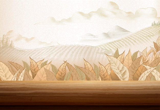 Theeplantage achtergrond in gravure stijl met 3d illustratie houten tafel
