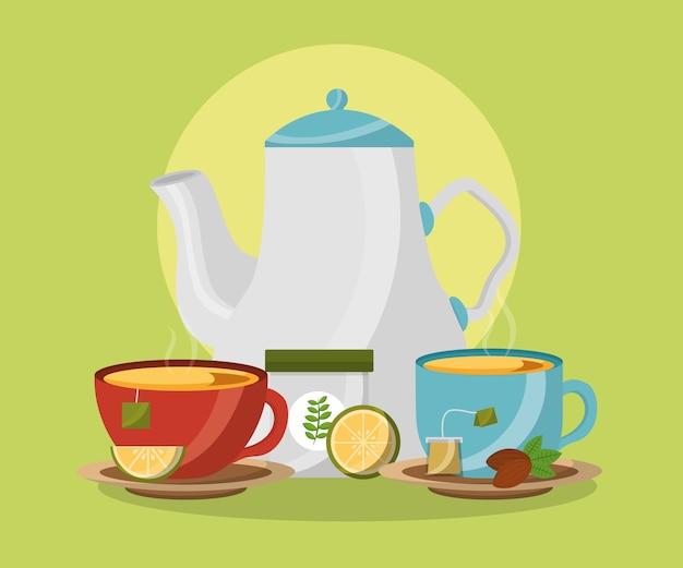 Theepot en keramische kopjes met warme drank citroenthee tijd