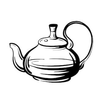 Theepot. glazen waterkoker. handgetekende vectorillustratie