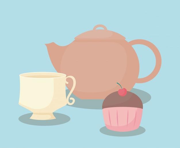 Theepot met zoete cupcake