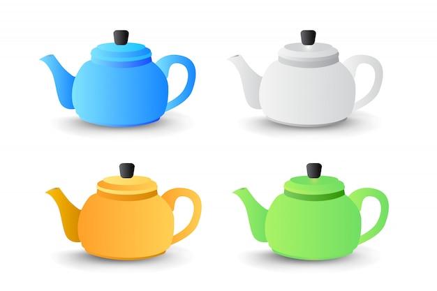 Theepotinzameling met verschillende kleuren vectorillustratie