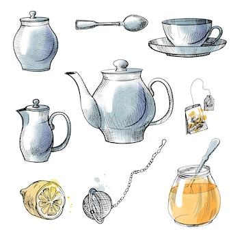 Theeservies getekend op boven- en zijkant en theeaccessoires. schets en aquarel illustratie