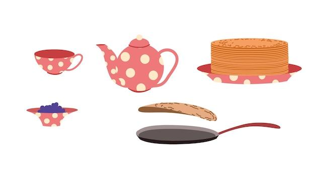 Theeservies met jam en pannenkoeken. vastenavond week. ontbijt op shirokaya vastenavond. platte vectorillustratie op een witte geïsoleerde achtergrond.