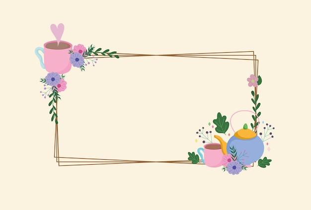Theetijd, delicaat frame met waterkoker kopjes bloemen decoratie bladeren illustratie