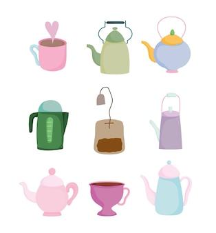 Theetijd keuken keramische drinkware, theezakje, kopjes en ketel cartoon ontwerp