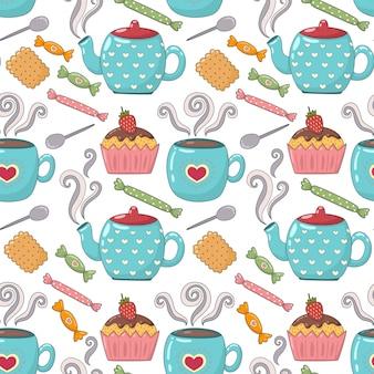 Theetijd schattig naadloos patroon met theekopjes, theepotten en snoepjes