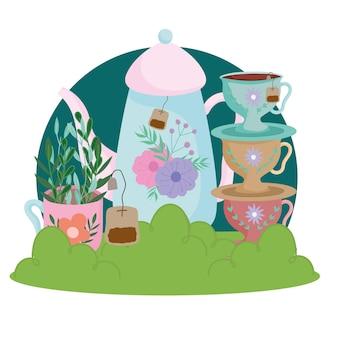 Theetijd schattig waterkoker kopjes gerechten theezakje bloemen en bladeren natuur illustratie