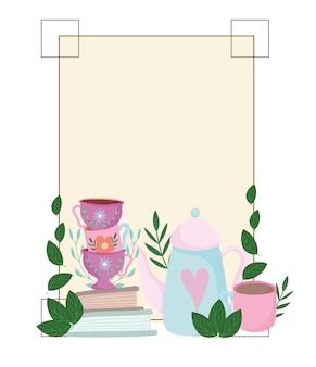 Theetijd, schattige waterkoker kopjes boeken bloemen en bladeren frame decoratie illustratie