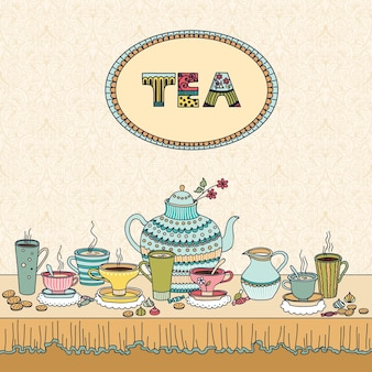 Theetijd. vectorillustratie met een kopjes, theepot, snoep en kaars