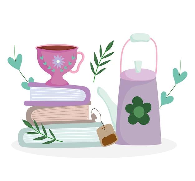 Theetijd, waterkoker theezakje beker op boeken, keramische keuken drinkware, bloem bloemdessin cartoon afbeelding