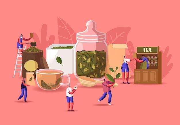 Theewinkel illustratie. kleine mannen en vrouwen personages die droge theeblaadjes inpakken, verkopen en kopen bij enorme glazen pot en beker met verse drank