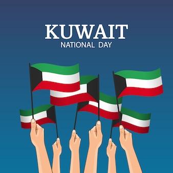Thema nationale dag koeweit. handen houden de vlaggen van het land vast
