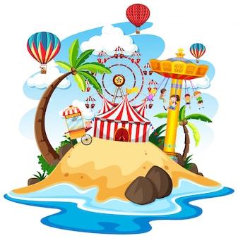 Themapark met veel attracties op een eiland
