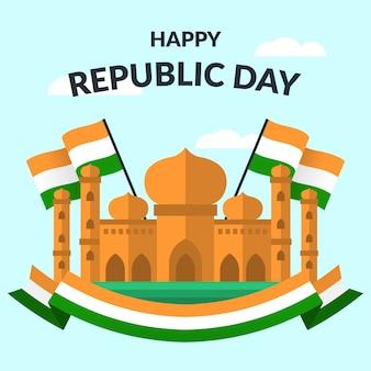 Thematisch plat ontwerp voor de dag van de republiek van india