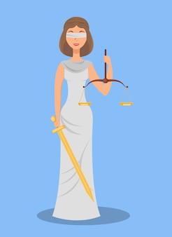 Themis, blinde rechtvaardigheid platte vectorillustratie