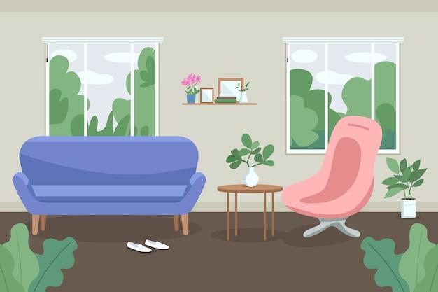 Therapie, raadpleging kabinet egale kleur illustratie.