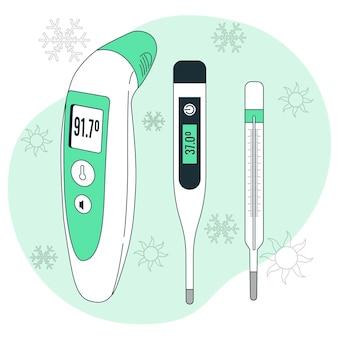 Thermometer concept illustratie Gratis Vector