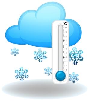 Thermometer in het winterseizoen