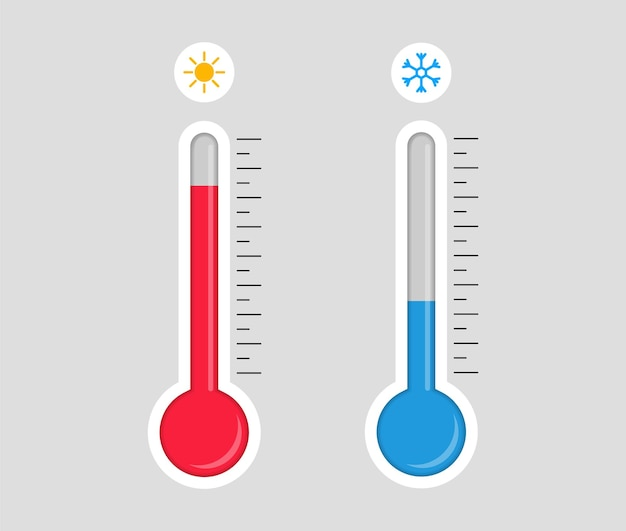 Thermometer met warme of koude temperatuur.