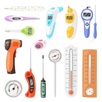 Thermometer ontlaten meting celsius fahrenheit schaal koud warm weer illustratie set van getempereerde meteorologie of medische apparatuur meten van temperatuur geïsoleerd op witte achtergrond
