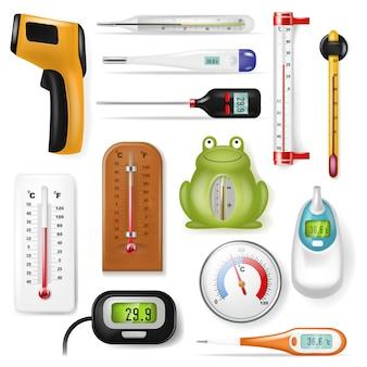 Thermometer ontlaten meting celsius fahrenheit schaal koude warme graad weer illustratie set meteorologie of medische apparatuur meten temperatuur geïsoleerd op witte achtergrond