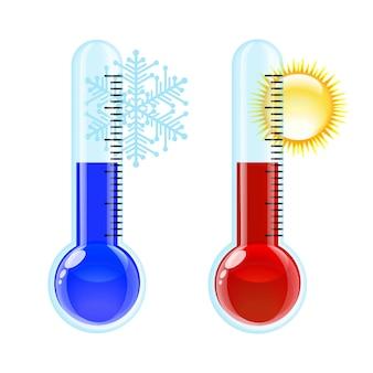 Thermometer warm en koud pictogram.