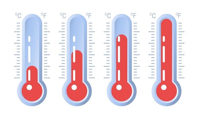Thermometerpictogram of temperatuursymbool met verschillende niveaus
