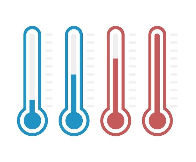 Thermometers met verschillende niveaus, vlakke stijl, eps10.