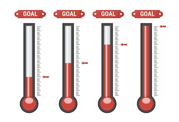 Thermometers op verschillende niveaus.