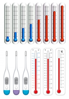 Thermometers op verschillende schalen