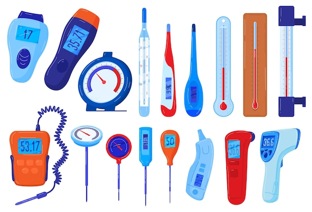 Thermometers vector illustratie set, cartoon platte temperatuur meter collectie van meteorologische medische thermometer