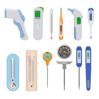 Thermometers. verschil warme en koude temperatuurmeter tellers indicatoren hoge en lage beelden