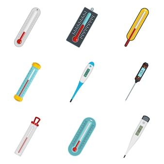 Thermometertemperatuurpictogrammen geplaatst geïsoleerde vector