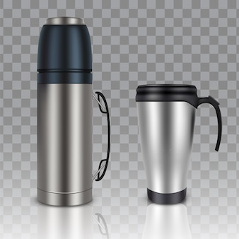 Thermos thermobeker vector realistische set